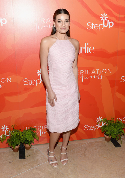 Lea Michele Strappy Sandals [step up,flooring,dress,cocktail dress,gown,shoulder,lady,beauty,fashion model,joint,carpet,lea michele,beverly hills,california,the beverly hilton hotel,13th annual inspiration awards]