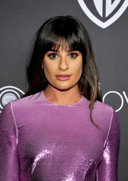 Lea Michele Long Straight Cut with Bangs [hair,hairstyle,eyebrow,lip,bangs,beauty,violet,black hair,brown hair,fashion,lea michele,beverly hills,california,the beverly hilton hotel,instyle,red carpet,warner bros. 73rd annual golden globe awards,warner bros. 73rd annual golden globe awards post-party]