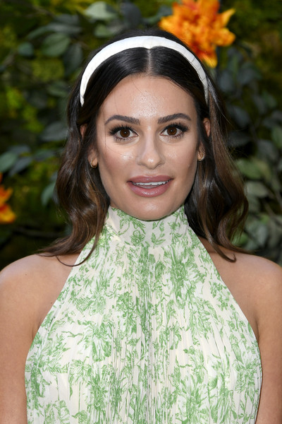Lea Michele Long Wavy Cut [hair,clothing,beauty,hairstyle,lip,lady,fashion,headband,headgear,hair accessory,arrivals,lea michelle,los angeles,pacific palisades,california,will rogers state historic park,veuve clicquot polo classic]