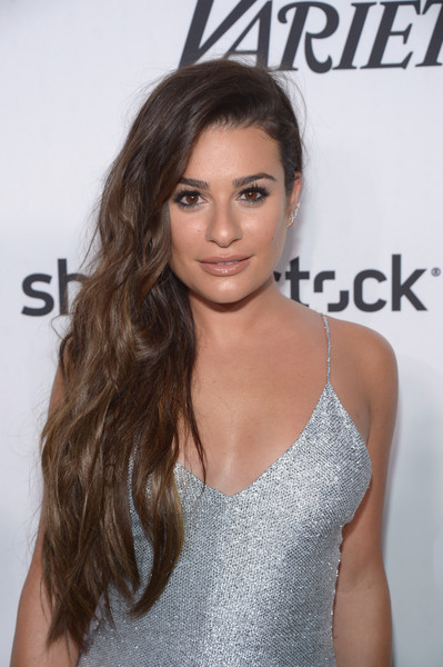 Lea Michele Side Sweep [hair,hairstyle,eyebrow,brown hair,long hair,beauty,lip,shoulder,premiere,black hair,variety and women in films pre-emmy celebration - arrivals,west hollywood,california,gracias madre,lea michele attends variety and women in films pre-emmy celebration]