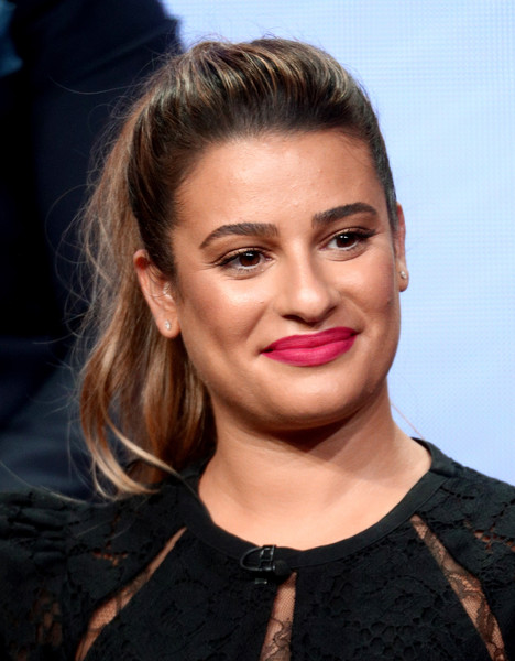 Lea Michele Loose Ponytail [hair,face,lip,hairstyle,eyebrow,chin,beauty,blond,cheek,forehead,lea michele,beverly hills,california,the beverly hilton hotel,abc television group,disney,summer tca,portion,summer television critics association press tour]