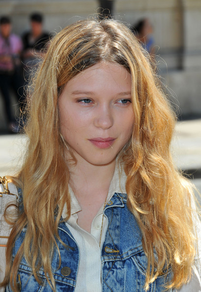 Lea Seydoux Long Wavy Cut [hair,face,blond,hairstyle,hair coloring,long hair,beauty,fashion,eyebrow,brown hair,jean-paul gaultier,haute couture f,lea seydoux,pfw,part,paris,france,paris haute couture fashion week]
