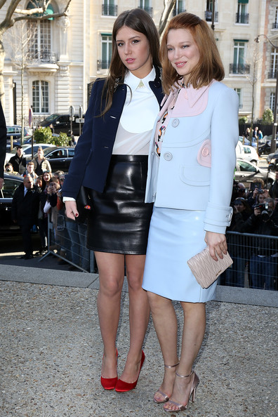 Lea Seydoux Skirt Suit [miu miu : outside arrivals,clothing,white,photograph,street fashion,fashion,snapshot,lady,leg,outerwear,footwear,adele exarchopoulos,lea seydoux,part,paris,france,paris fashion week womenswear fall]