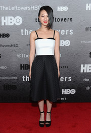 Annie Q chose a tight-fitting black-and-white camisole for the premiere of 'The Leftovers.'