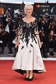 Helen Mirren was classic in a floral-embroidered black-and-white dress by Sassi Holford at the Venice Film Festival premiere of 'The Leisure Seeker.'