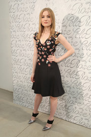 Skyler Samuels attended the Lela Rose fashion show wearing a fit-and-flare dress with a floral-beaded bodice.