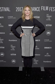 Judy Greer covered up in a monochrome sweater dress for the Sundance premiere of 'Lemon.'