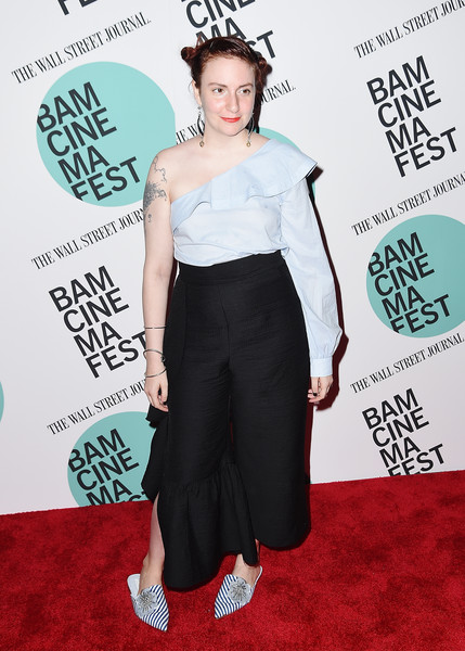 Lena Dunham One-Shoulder Top [clothing,shoulder,red carpet,waist,carpet,premiere,joint,flooring,dress,leg,lena dunham,landline,new york,bam harvey theater,bamcinemafest 2017,screening,screening]