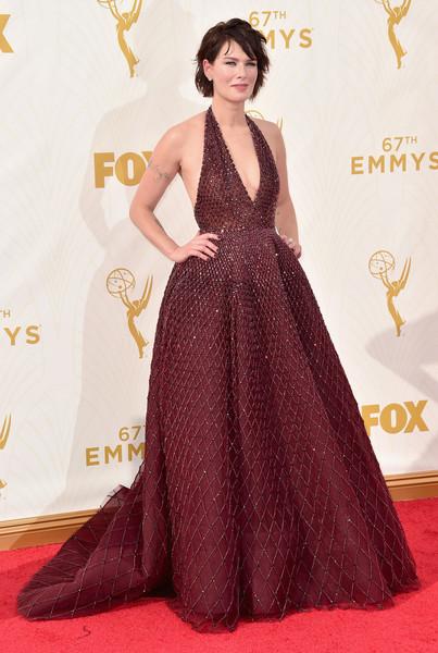 Lena Headey Halter Dress [red carpet,red carpet,carpet,clothing,dress,gown,flooring,fashion,hairstyle,a-line,fashion model,lena headey,emmy awards,67th emmy awards,microsoft theater,los angeles,california]