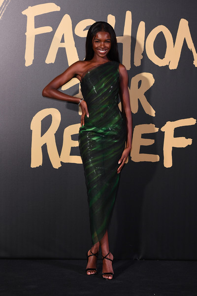 Leomie Anderson Strappy Sandals [red carpet arrivals - fashion for relief london,clothing,dress,green,fashion model,shoulder,fashion,beauty,fashion design,cocktail dress,carpet,london,england,british museum,leomie anderson]