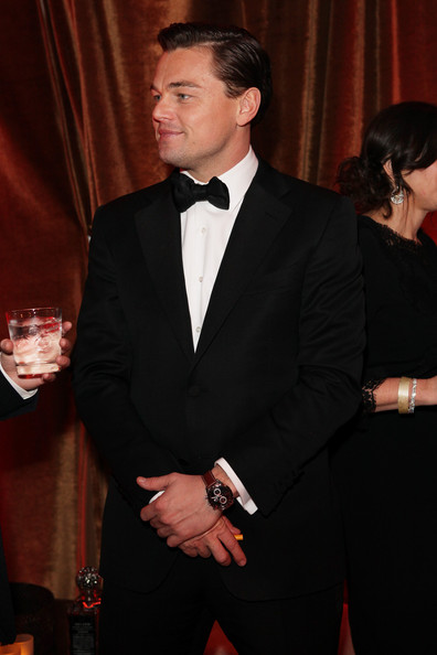 Leonardo DiCaprio Leather Band Chronograph Watch [yucaipa films,suit,formal wear,tuxedo,event,carpet,white-collar worker,smile,premiere,laura mercier,marie claire,weinstein company,lexus,hp,chopard,red carpet,2013 golden globe awards,party]