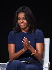 Letting her eyes take center stage, the First Lady opted for a nude lip color.