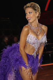Sylvie van der Vaart sparkled from head to toe wearing a jeweled headdress across her forehead.