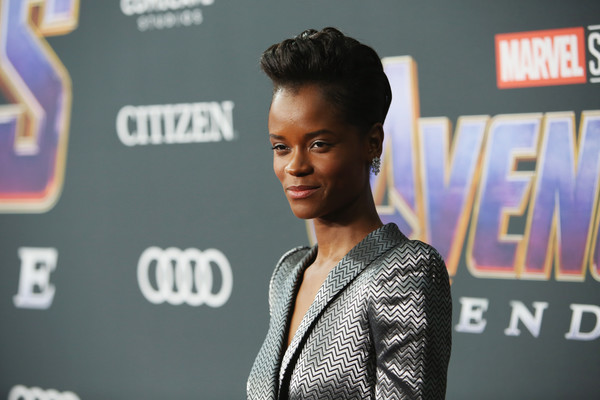 Letitia Wright Fauxhawk [avengers: endgame,hair,hairstyle,fashion,forehead,carpet,premiere,black hair,event,style,fashion design,letitia wright,los angeles,california,los angeles convention center,los angeles world premiere of marvel studios,los angeles world premiere]
