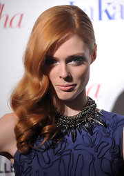 Coco Rocha wore her hair in retro side-swept curls at the premiere of 'Letter to Haiti.'
