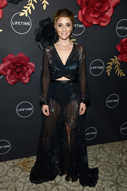 Shiri Appleby sizzled in a sheer black cutout gown by Helo Rocha during Lifetime's Anti-Valentine's Bash.