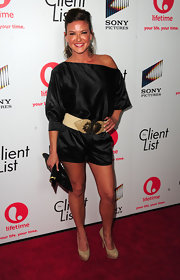 Alicia Lagano looked spunky at the launch party of 'The Client List' in this off-the-shoulder romper.