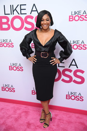 Tiffany Haddish looked effortlessly elegant in a low-cut black blouse by Sergio Hudson at the world premiere of 'Like a Boss.'