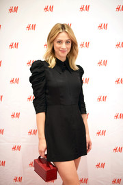 Lili Reinhart attended the H&M Westfield Century City opening carrying a boxy red croc-embossed purse.