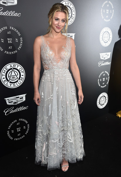 Lili Reinhart Embroidered Dress [the art of elysium,dress,clothing,shoulder,gown,fashion,carpet,premiere,hairstyle,red carpet,a-line,lili reinhart,santa monica,california,barker hangar,art of elysium,11th annual celebration - heaven - red carpet,11th annual celebration with john legend]