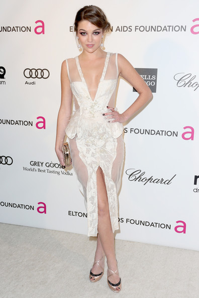 Lili Simmons Evening Dress [dress,clothing,fashion model,cocktail dress,shoulder,hairstyle,fashion,leg,neck,joint,arrivals,lili simmons,california,los angeles,elton john aids foundation,oscar viewing party]