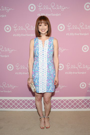 Ellie Kemper donned a Lilly Pulitzer for Target print dress in a cool blend of blue, pink, and white for the collection's launch.