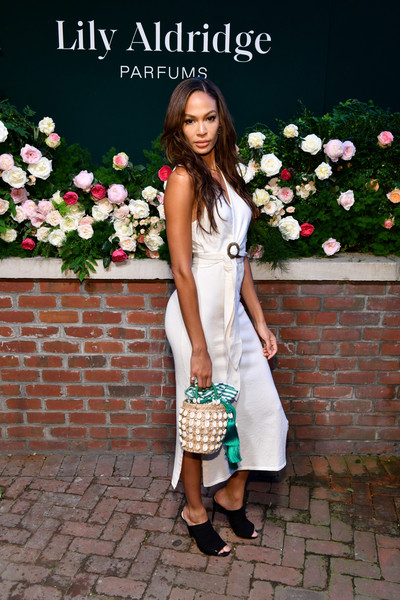 More Pics of Joan Smalls Straw Tote (6 of 12) - Tote Bags Lookbook - StyleBistro [photo,white,clothing,lady,dress,shoulder,fashion,footwear,snapshot,photography,spring,joan smalls,lily aldridge,the bowery terrace,new york city,bowery hotel,lily aldridge parfums launch event,launch event]