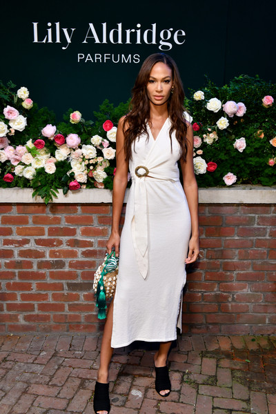 More Pics of Joan Smalls Straw Tote (9 of 12) - Tote Bags Lookbook - StyleBistro [photo,clothing,white,dress,lady,fashion,shoulder,footwear,cocktail dress,formal wear,street fashion,joan smalls,lily aldridge,the bowery terrace,new york city,bowery hotel,lily aldridge parfums launch event,launch event]