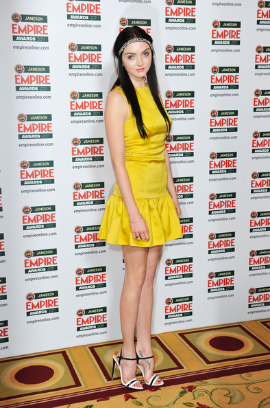 Lily Cole Strappy Sandals [lily cole,jameson empire awards,clothing,yellow,fashion,leg,dress,cocktail dress,fashion model,fashion design,thigh,photo shoot,room,grosvenor house hotel,london,england]