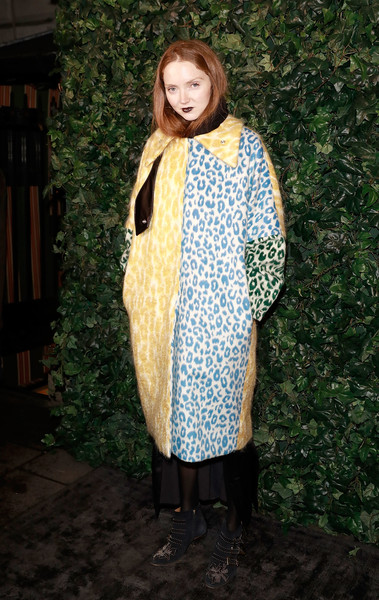 Lily Cole Printed Coat [clothing,outerwear,dress,costume,pattern,formal wear,fawn,arrivals,charles finch,lily cole,england,london,party,party,chanel pre bafta,bafta,chanel]
