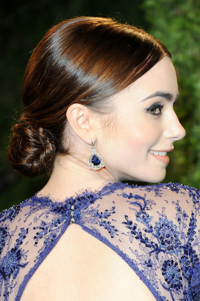 Lily Collins Dangling Gemstone Earrings