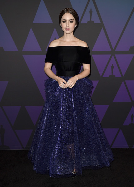 Lily Collins Off-the-Shoulder Dress [clothing,dress,purple,gown,shoulder,fashion,formal wear,beauty,fashion model,lady,lily collins,hollywood highland center,california,the ray dolby ballroom,academy of motion picture arts and sciences,10th annual governors awards,governors awards]