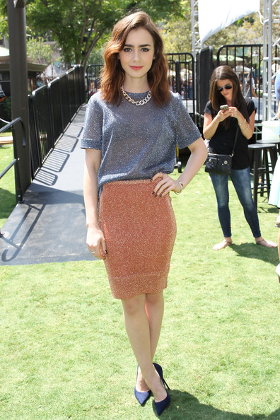 Lily Collins Pencil Skirt