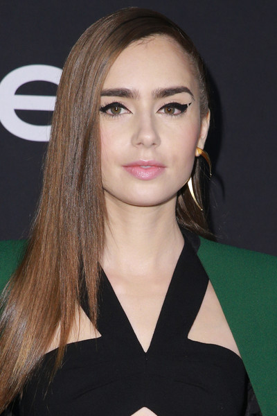 Lily Collins Long Straight Cut [hair,face,eyebrow,hairstyle,lip,chin,beauty,blond,long hair,cheek,arrivals,lily collins,instyle awards,the getty center,los angeles,california]