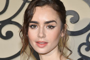 Lily Collins Messy Updo