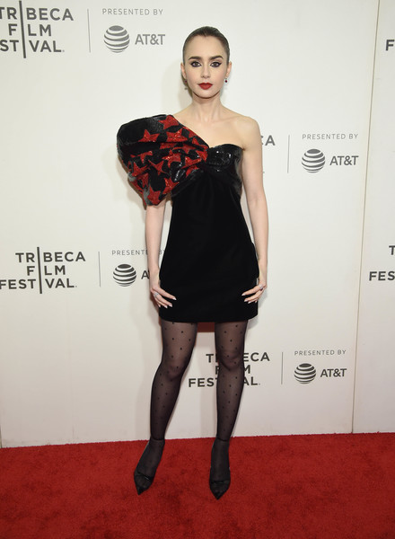Lily Collins Tights [clothing,shoulder,dress,cocktail dress,fashion model,tights,carpet,fashion,joint,hairstyle,lilly collins,shockingly evil and vile,new york city,bmcc tribeca pac,tribeca film festival]