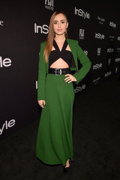 Lily Collins Skirt Suit [red carpet,clothing,green,dress,fashion,hairstyle,a-line,formal wear,carpet,neck,fashion model,lily collins,instyle awards,the getty center,los angeles,california]