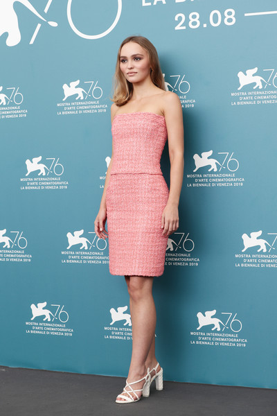 Lily-Rose Depp Strapless Dress [the king photocall,clothing,dress,cocktail dress,shoulder,premiere,fashion,turquoise,carpet,footwear,joint,lily-rose depp,sala grande,photocall,venice,italy,the 76th venice film festival]