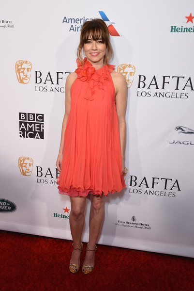 Linda Cardellini Strappy Sandals [clothing,dress,cocktail dress,red carpet,carpet,hairstyle,shoulder,fashion,premiere,flooring,linda cardellini,tea party,los angeles,four seasons hotel,california,beverly hills,bbca bafta]