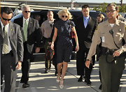 For her court appearance Lindsay looked chic in a polka-dot day dress with a cinched waist.