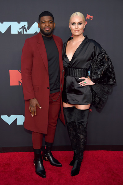 Lindsey Vonn Wrap Dress [carpet,red carpet,red,fashion,premiere,footwear,event,flooring,suit,outerwear,arrivals,subban,lindsey vonn,mtv video music awards,p.k.,newark,new jersey,prudential center]