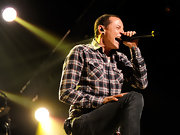 Chester Bennington actually looked boyish in his plaid button-down while performing at The Joint.