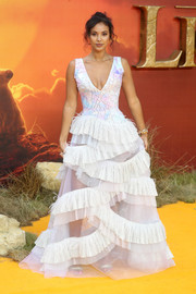 Maya Jama went the princessy route in a Rami Kadi Couture gown with a plexiglass-embellished bodice and a ruffled skirt at the European premiere of 'The Lion King.'