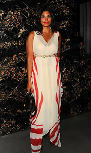 Rachel Roy looked artsy at the 'Safe' premiere in this red and white print maxi dress.