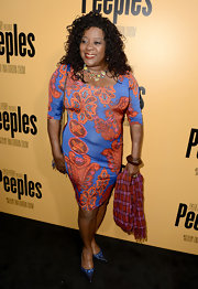 Loretta Devine opted for a bold patterned dress for her look at the premiere of 'Peeples.'
