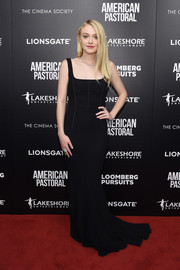 Dakota Fanning was classic and sultry in a black fishtail-hem corset gown by Dolce & Gabbana at the New York screening of 'American Pastoral.'