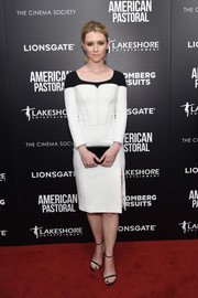 Valorie Curry was conservative yet chic at the New York screening of 'American Pastoral' in a fitted white frock with a contrast yoke.