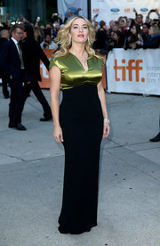 Kate Winslet's chartreuse and black Hanne Laitinen evening dress at the premiere of 'A Little Chaos' did an excellent job of putting her curves on display.