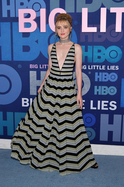 Kathryn Newton rocked a striped maxi dress with a navel-grazing neckline at the premiere of 'Big Little Lies' season 2.