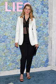 Laura Dern layered a white tux jacket over a sheer black blouse for the premiere of 'Big Little Lies' season 2.